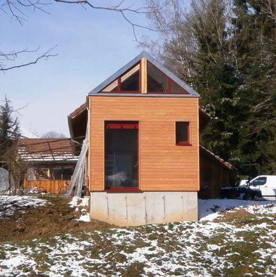 Extension d 39 une maison ossature bois 1580 novalaise for Extension maison 73